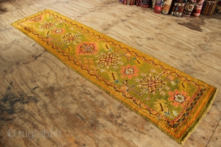"""Narrow Oushak runner, circa 1900, 2'4"""" x 9'6"""" in good condition, although re-sized in the length. Very unusual size and colour- beautiful!"""