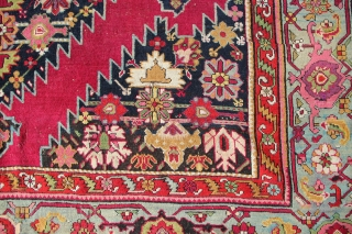 """19th century Karabagh Kelleh with cochineal ground colour and marvelously abrashed light blue border. 7' x 20'6"""" In low pile with minor areas of repiling. Beautiful carpet!"""