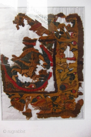 Ca 5th century coptic textile fragment. Great colour. Mounted behind glass, hence slight reflections overlaid in pictures. Fragment 22 x 18cm, frame 36 x 29cm. Can you see the Caped Crusaders legs...?