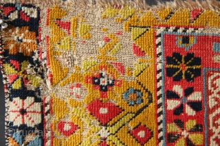Early 19th century NE Caucasian rug fragment. This is my benchmark for great colour, about as good as it gets.