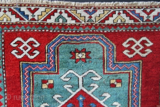 "Fachralo prayer rug 3'7"" x 4'0"" circa 1890. Missing ends and new sides but a great looking prayer rug still with the rare green ground."
