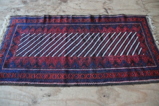 """Antique Belouch fresh in, 3'0"""" x 5'10"""", lovely stripes, rich wool, mostly good pile, some repairs at one end."""