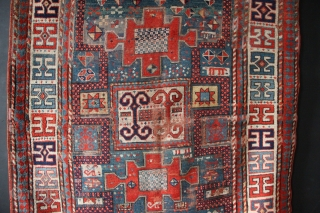 """Antique Karachopf Kazak with all natural dyes, 5'0"""" x 6'7"""" / 153 x 200cm in as found condition. Worn, with old repairs, all edges original. Could use a light clean but otherwise  ..."""