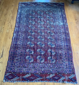"Fine 19th Ca. Tekke with intriguing border! Very fine with signs of wear.  No repairs or holes. 71""x42"""