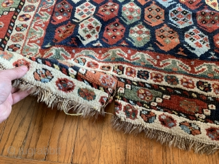 """Botehs for days and days on this brightly colored 19th Ca Luri rug!  Measuring 7'10""""x3'9"""" the rug shows signs of wear in some areas.  Repairs to selvages only.  Tear in one  ..."""