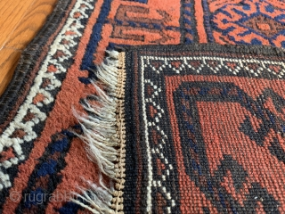 """Stunning antique Baluch. 2'8""""x5""""3"""" Colors are deep rich and sound.  Very fine piece in excellent condition for age."""