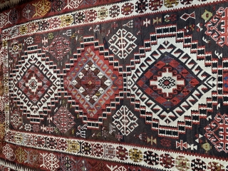 A rare Shirvan Kilim circa 1900-10  Perfect in every way!  Detailed Micro abrash within icons!  81 inches x 115 inches  Please request more photos if you wish.  Price includes shipping within US.
