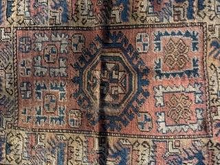 19th Ca Konya Yastic. Loss to selvage. Center wear.  Natural dyes. No repairs.