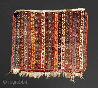 Lovely antique, SW Persian bag face fragmentary. 46cm x 56cm.  Lush, natural colors and iridescent wool. High impact display.  Clean.