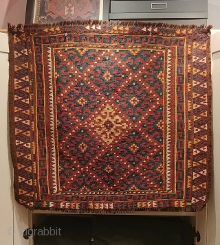 "Uzbek Tartari bag face.  Early 1900s. Double interlocking tapestry weave, on goat hair warp.  35"" X 31"" (89cm x 79cm). Aged, dry texture.  In excellent condition, suitable for trafficked  ..."