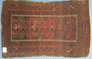 Antique Baloch balisht, very fine weave, great colors, silk highlights, 22 x 36 inches. Probably 19th century
