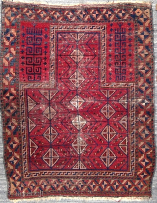 "Exceptional Dja-Namaz, Taimani Aimak, Northern Afghanistan, possibly 19th century.  3'6"" x 4'3"". Overall good condition with one small reweave visible near center, and tiny touches of re-piling visible as lighter spots.  ..."