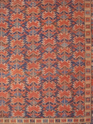 "19th century Beshir Carpet, 3'9"" x 7'6"".  Rare design, 9 stems with red flower heads on field of dark and lighter blues. Mostly even low pile, small spots where foundation shows.  ..."