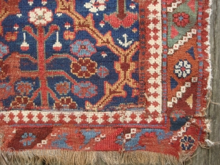 Early Persian Shrubs in Lattice carpet fragment. 110 x 156 cm. All wool. Symmetrical knots. Red wefts. For a similar 18th century example on a larger scale, see Burns, Antique rugs of  ...