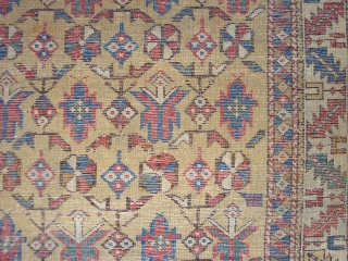Fine and very old East Caucasian Yellow Field Khyrdaghyd pattern rug, ca. 4 x 4 ft 5 inches. Nice variant motifs near lower end.  Mid-19th century or earlier, with corresponding evidences  ...