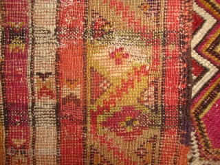 Antique Kirshehir prayer rug, rare design, flamboyant colors. 41 x 62 inches. Photo shows weaver's view (woven upside down). Good condition, some black corroded, one small old reweave in border at upper  ...