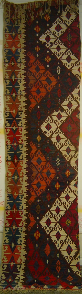 Antique Anatolian long kilim strip, possibly Aksaray, late 19th century. Very good condition.