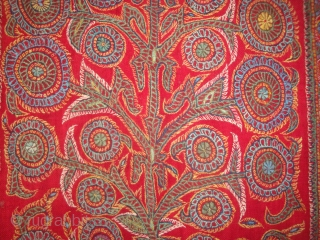 Kirman Tree under Arch embroidery, wool on fine red pashmina plain weave. 30 x 108 inches. Circa 1900.