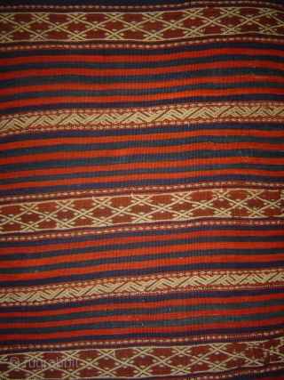 Antique 19th century West Anatolian long kilim, 150 x 325 cm. Woven as a single width of five feet. Wool and cotton extra-weft patterning on wool foundation. Good condition, minor wear.   ...