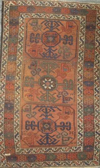 Symmetrically knotted Baluch with 3 Octagon Guls, 34 x 55 inches. An unusual late-19th century weaving in  excellent condition. The dull photos do not do justice to the lavishly used sparkling  ...