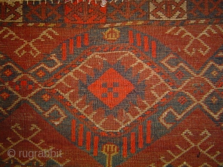 Central Asian Turkmen torba with 3 Ikat Guls, 50 x 16 inches (125 x 41 cm) Goat hair warps; sides re-wrapped, no other repairs; dark red wine stain, no color runs or  ...