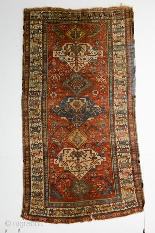 Daghistan or Derbend Carpet with 7 Varied medallions that interconnect into a 7-Node Tree, close to 3 meters long. Design and colors resemble the early 19th-century sumakhs woven in this region. A  ...