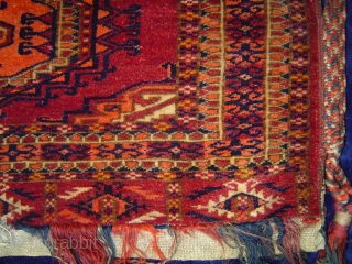 Resplendent and very fine antique Turkmen torba with 2 Salor guls, complete with kilim back and handsome woven straps. 36 x 11 inches. Circa 1900. Excellent condition. johnbatki@gmail.com
