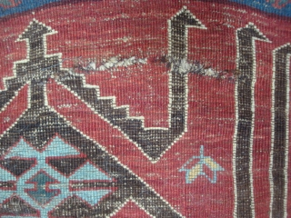 Small Avar carpet with striking Davaghin kilim design, 37 x 44/47 inches. Four crease cuts have been loosely sewn. Pretty decent overall pile with corrosion of black areas. Original side finish and  ...