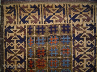 Symmetrically knotted Baluch mat, crisp design, vivid coloratura, 26 x 47 [53] inches. Excellent condition, Early 20th century.