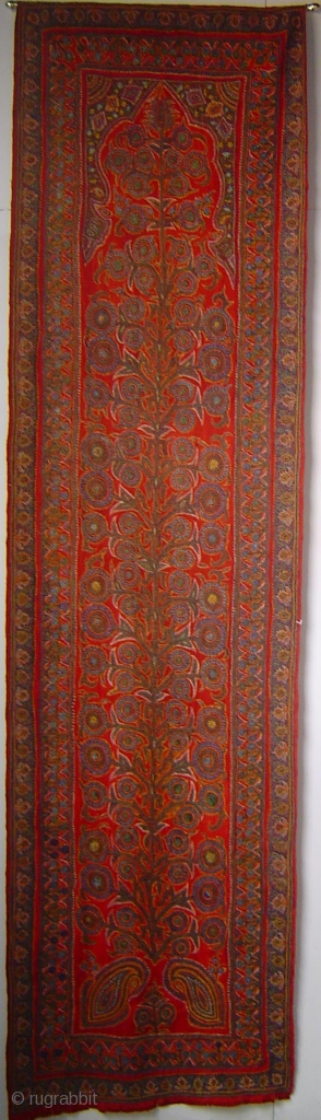 19th century Kirman embroidery, wool and silk on superfine red pashmina ground, excellent condition. 78 x 280 cm (30 x 108 inches)