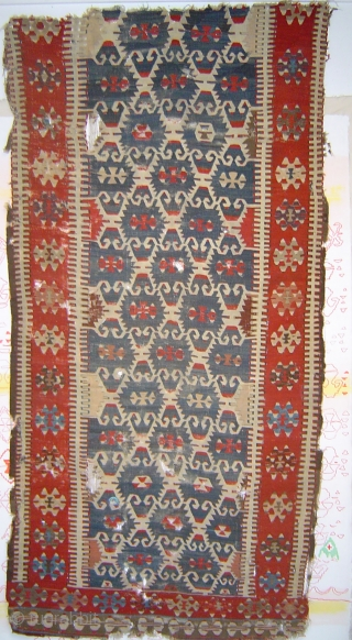 Exemplary Anatolian Elibelinde kilim  fragment, possibly 18th century. 114 x 234 cm.