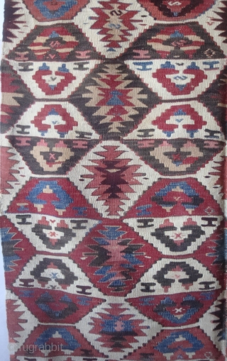 """SouthWest Anatolian long kilim, possibly Taurus/Toros Mountain region, 4'2"""" x 7'11"""".  Two strips sewn together, in very good condition, recently washed by R. Mann. Probably late 19th/early 20th century work. Provenance:  ..."""