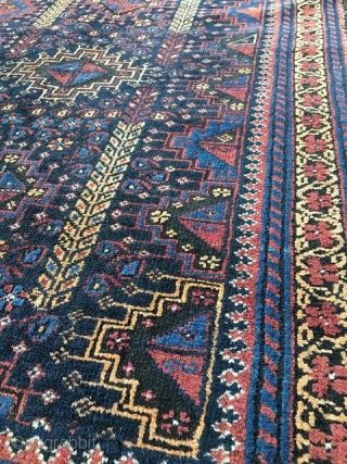 "Arab Baluch, 2'7"" x 4' 3"", circa 1900.  Open right asymmetrical knot.  Excellent condition."