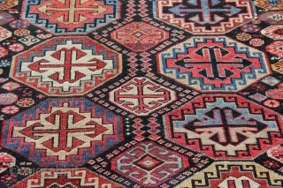 Caucasian Shirvan long rug with Memling Gul design dated 1319 or 1901.  Measures 4'3'' x 8'0''.  Vibrant colors with some early synthetics.  Good pile with some restoration and replaced  ...