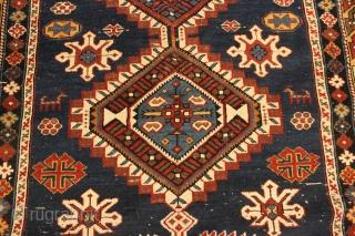 1870s Caucasian Shirvan.  4'2'' x 8'4''. Well drawn example.  Some wear and repair.  Natural colors.   Ebay Item # https://www.ebay.com/itm/143500147907