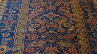 Circa 1900 4.4 x 8.5 feet.  Northwest Persian Bijar.  Wool foundation.  Good condition.  No repairs, but low pile.