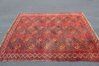 Antique 19th century Ersari main carpet.  6'4'' x 7'10''.  Some wear, but very colorful.