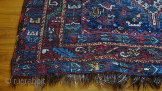 Early 20th century Qashqai 63 x 75 inches.  Nice, mostly natural colors.  One of the reds may be synthetic.  Good condition.  Even pile with a couple lower spots.  ...