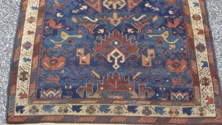19th century Caucasian Alpan Kuba 3'5'' x 5'3''.  Wool foundation.  Good condition.  Some restoration and minor old re-piling in the white border one side of the rug.