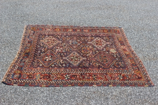 Circa 1880s Khamseh.  4'8'' x 6'0''.  Good colors.  Some brown corrosion and tiny bit of foundation showing in spots along with some wear to one end.  Still a  ...