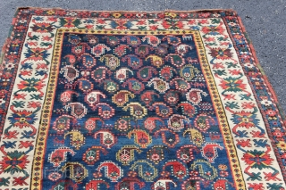 Antique 1880s Caucasian boteh rug.  3'10 x 7'4''.  Ebay auction item.  http://www.ebay.com/itm/-/141811375270?
