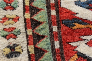 19th century Chelaberd Rug.  5'0'' x 7'0''.  Full pile with one very small lower area, original sides and no repair.  Great color.