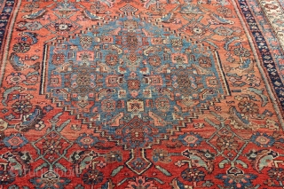 Late 19th century Bijar 5'0'' x 8'11''.  Wool warp and weft.  Good usable size.  No restoration.    Low pile with a little foundation visible in one spot,  ...