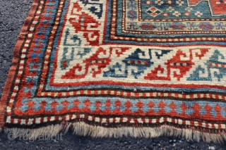 Kazak Karachov rug 3'5'' x 6'0''.  Late 19th or early 20th century.  Low even pile with good natural colors.  Basically un-restored condition with one tiny area of re-knotting and  ...