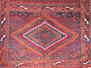Sistan Baluch Bagface, ( Khorjin ) Vibrant vegetal color including blues and greens with characteristically glossy wool and floppy handle. In good condition with traces of the red kilim back at the  ...