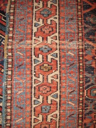 "Karaja rug, item # 1838	, all natural colors and bold design, Looks almost like a big Shahsevan bag. ca 1900, good/fair condition. 3'3""X4'0"""