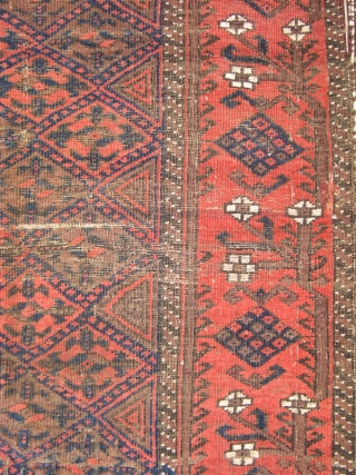 #3376  Diamond lattice design Belouch with supple wool and intact kelims from the early 20th century. (Dimensions 3' X 4')