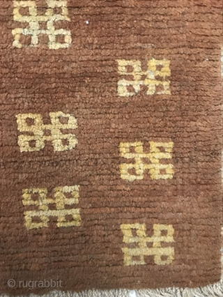 Tibet carpet, around 1850, the size of 123x62cm, all wool, welcome to consult!