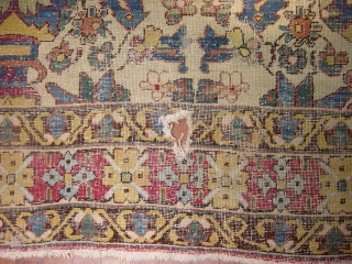 INDIAN ? RUG WHICH IS VERY OLD  AND   HAS  A RARE DESIGN WHITE GROUND AND  CHARMING COLOUR  size is 305 x,207 PLEASE ASK MORE DETAIL,