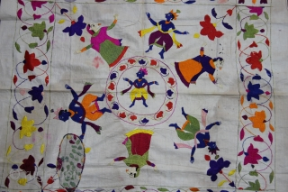 Chamba Rumaal.  A Rumaal hand-embroidered in the typical style of Chamba, Himchal Pradesh, India   This Rumaal depicts Krishna a Raas-Leela with Gopis and floral patterns all over. The figures are particularly well defined  ...
